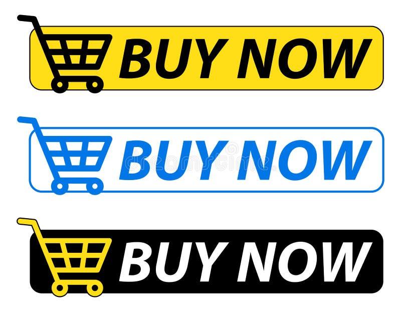 Ora compri le icone blu e gialle del bottone illustrazione di stock