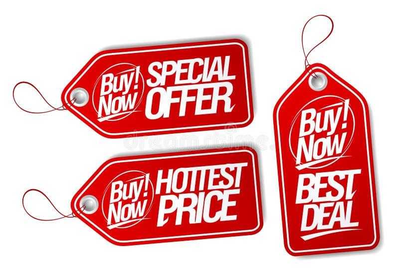 Ora compri, offerta speciale, migliore affare e prezzi da pagare più caldi illustrazione vettoriale