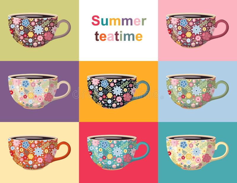 Ora del the di estate Raccolta sveglia delle tazze con il modello floreale Progettazione delle terrecotte con i bei fiori illustrazione di stock