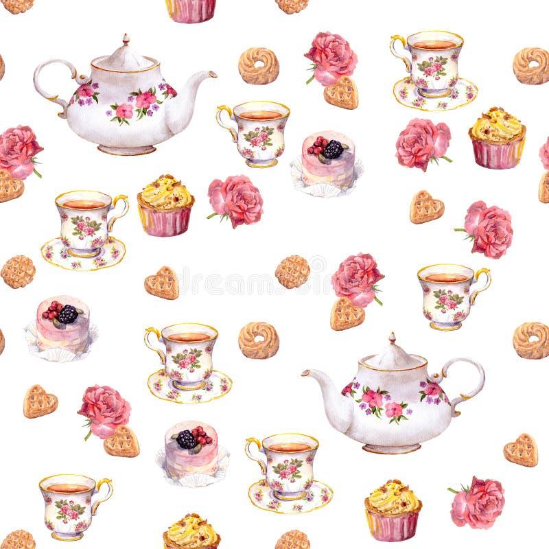 Ora del the - teiera, tazza di tè, dolci, fiori Reticolo senza giunte watercolor royalty illustrazione gratis