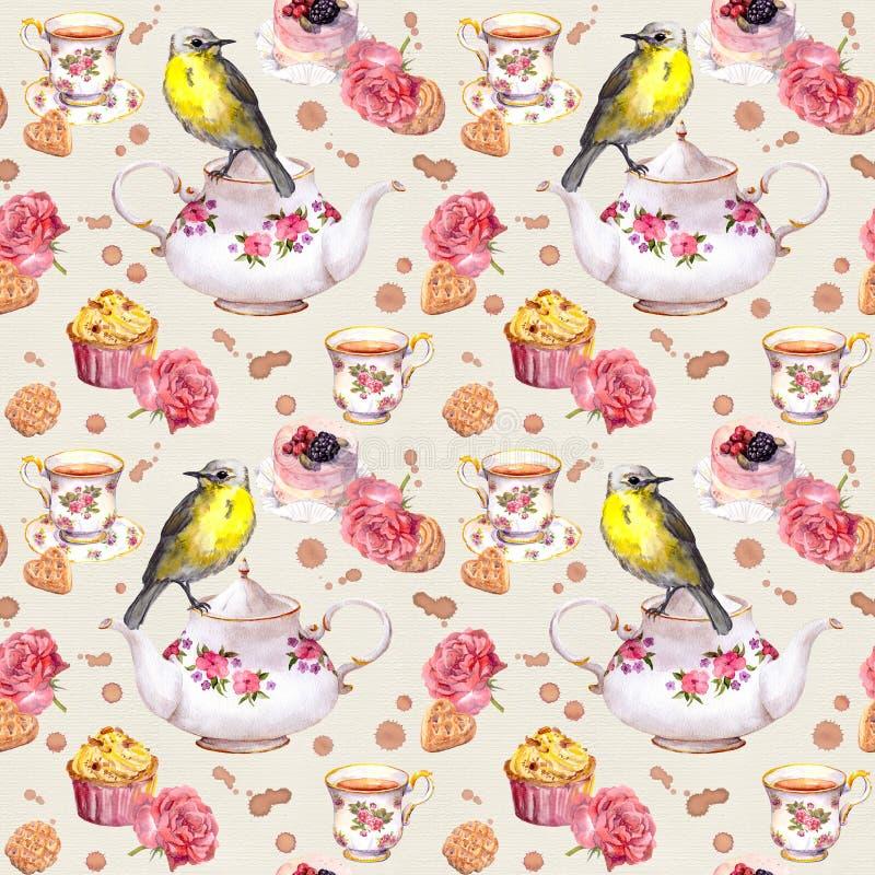 Ora del the: teiera, tazza, dolci, fiori rosa, uccello Reticolo senza giunte watercolor illustrazione di stock