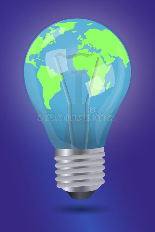 Ora della terra Illustrazione di vettore del pianeta in lampadina royalty illustrazione gratis