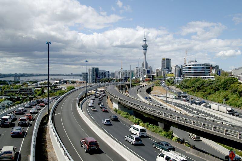 Ora di punta a Auckland, Nuova Zelanda fotografia stock libera da diritti