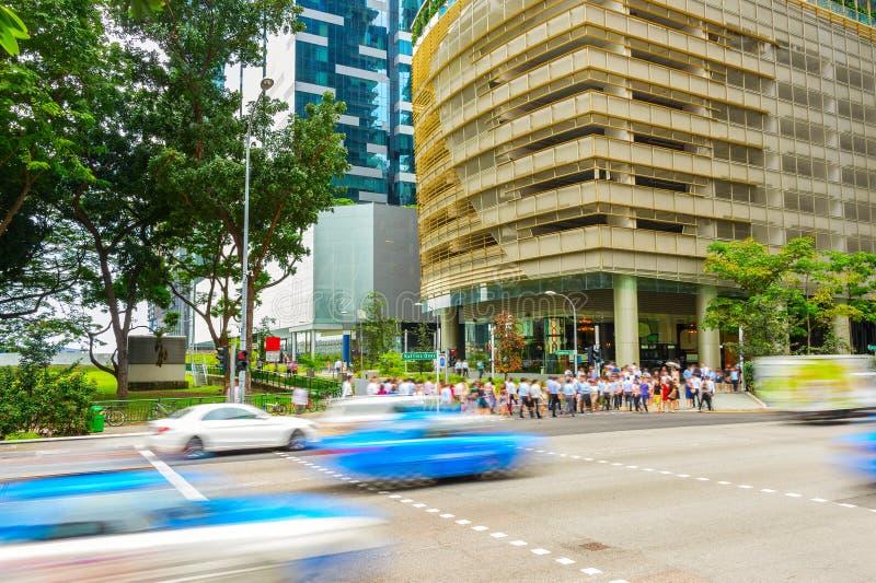 Ora di punta del centro del centro di Singapore fotografie stock libere da diritti