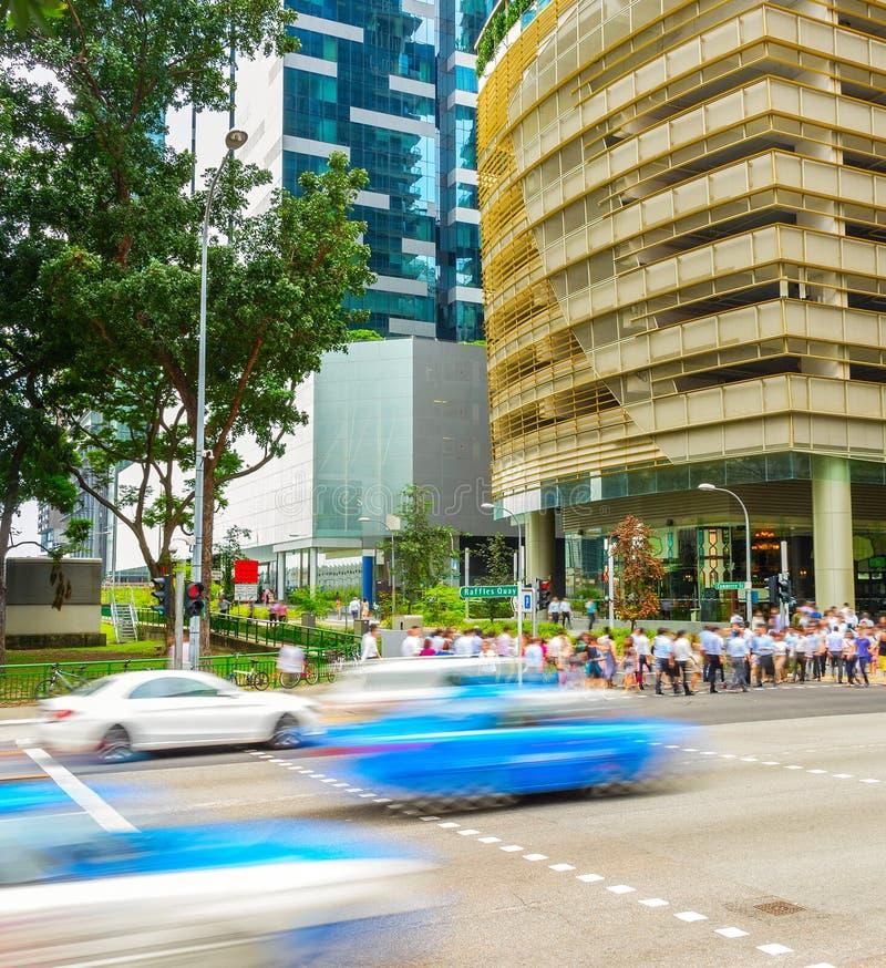 Ora di punta del centro del centro di Singapore fotografia stock libera da diritti