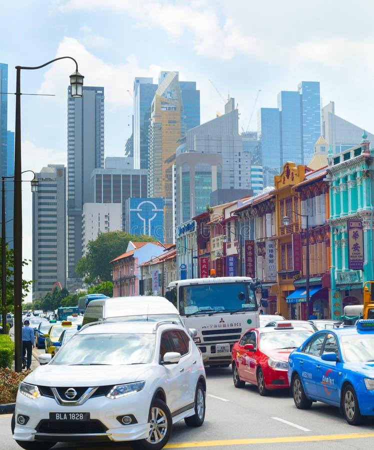Ora di punta di problema di traffico, Singapore fotografie stock libere da diritti