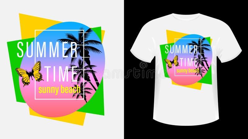 Ora estiva, maglietta stampata con slogan sulla spiaggia di Sunny illustrazione vettoriale