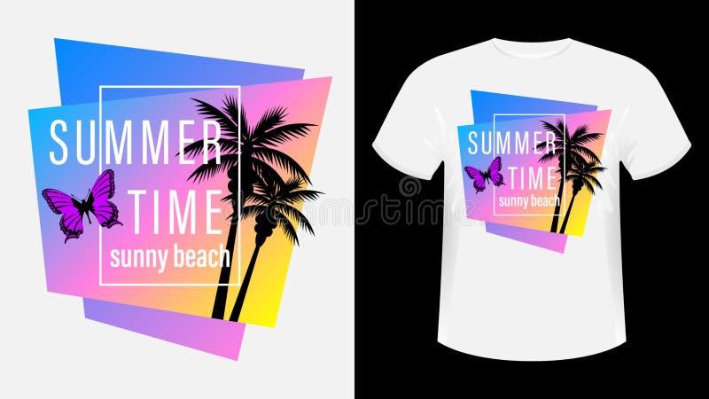 Ora estiva, maglietta stampata con slogan sulla spiaggia di Sunny illustrazione di stock