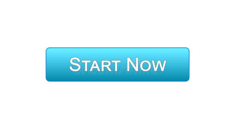 Ora inizi il colore blu del bottone dell'interfaccia di web, lo sviluppo di affari, innovazione illustrazione di stock