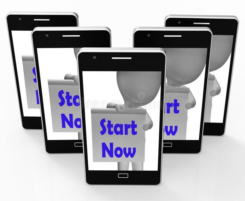Ora inizi le manifestazioni del telefono per cominciare o faccia immediatamente illustrazione di stock