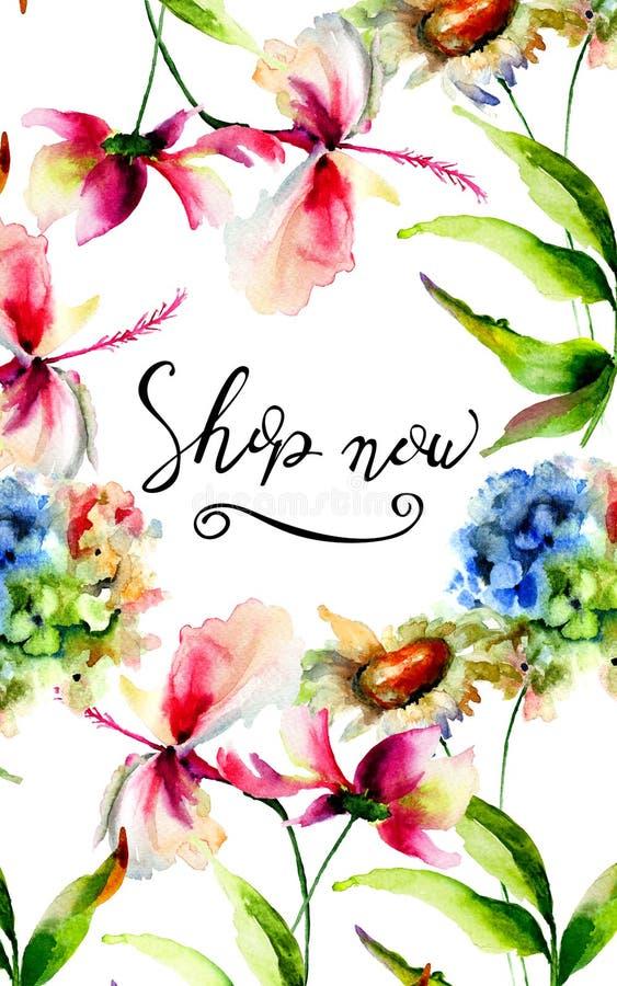 Ora intitoli il negozio con i fiori dell'ortensia, dell'ibisco e di Cosmea illustrazione vettoriale