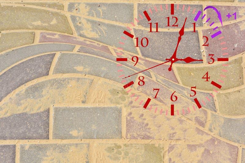 Ora legale DST Orologio di parete che va all'orario invernale Giri il tempo di andata immagine stock