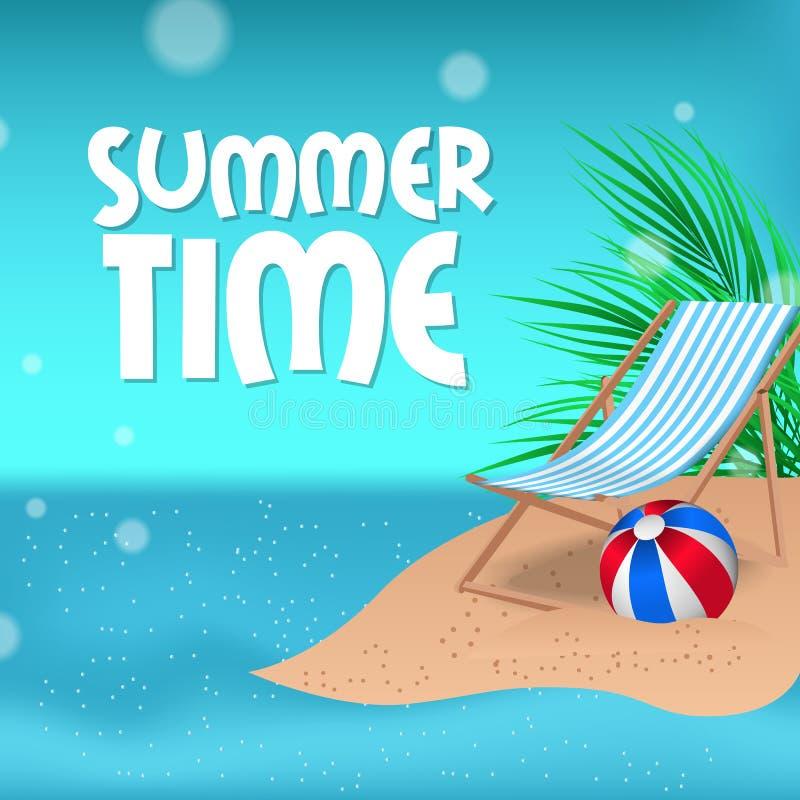 Ora legale felice con il paesaggio tropicale della spiaggia della terra con il mare e la sedia illustrazione di stock