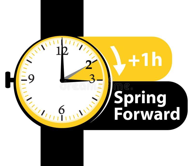 Ora legale Icona di andata dell'orologio della primavera illustrazione di stock