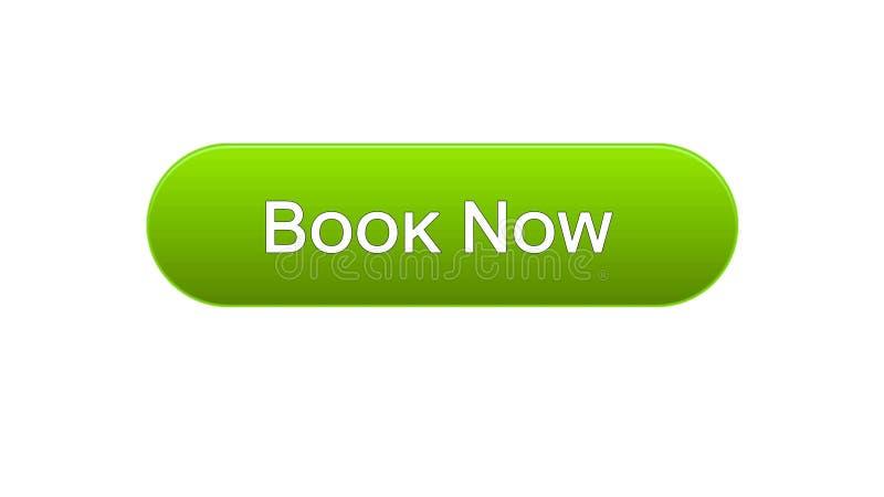 Ora prenoti il colore verde del bottone dell'interfaccia di web, biglietto di volo online, prenotazione illustrazione vettoriale