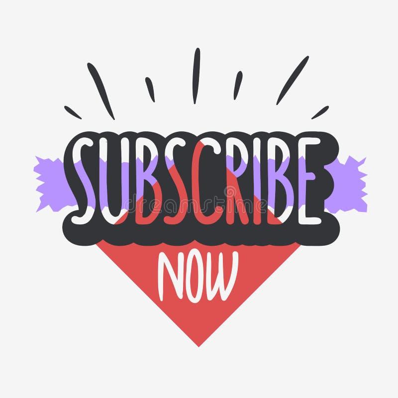 Ora sottoscriva la chiamata a progettazione tipografica Vlog che di azione il video blog ha collegato il grafico di vettore di te royalty illustrazione gratis