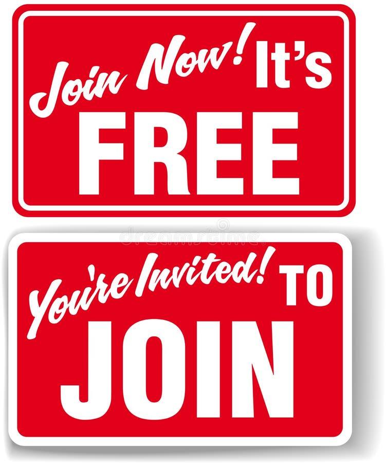 Ora unisca liberamente i segni dell'invito di insieme dei membri royalty illustrazione gratis