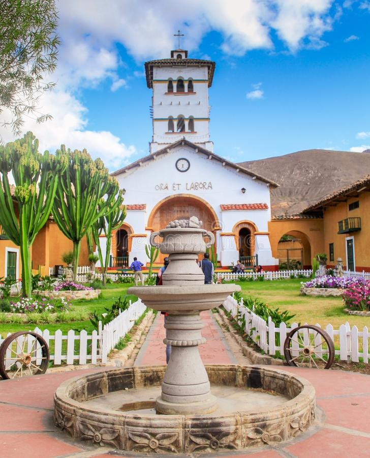 Ora y labora. Church in the middle of la Collpa farm in Cajamarca royalty free stock photos