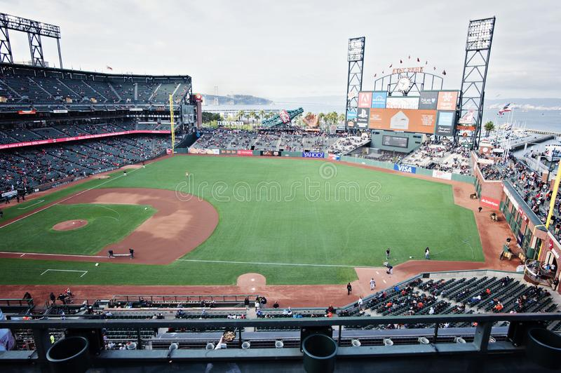Oracle公园在旧金山,棒球公园在加利福尼亚 体育体育场 免版税库存图片