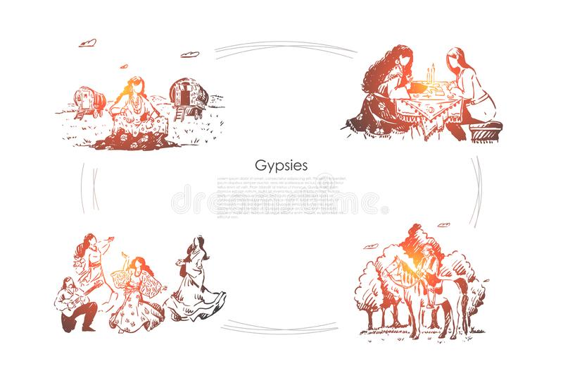 Oracle, удача говоря, будущий divination, молодые женщины в платьях танцуя, человеке играя знамя гитары бесплатная иллюстрация