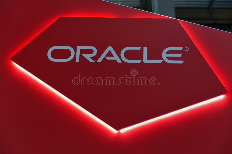 Oracle budka podczas CEE 2017 w Kijów, Ukraina zdjęcia stock
