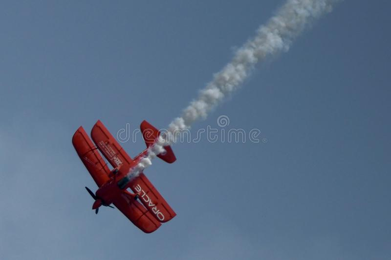 Oracle Challenger III. This is a Summer picture of the Oracle Challenger III performing over Lake Michigan in the 2018 Chicago Air & Water Show located in royalty free stock photo