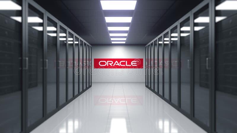 Oracle Corporation logo na ścianie serweru pokój Redakcyjny 3D rendering ilustracja wektor