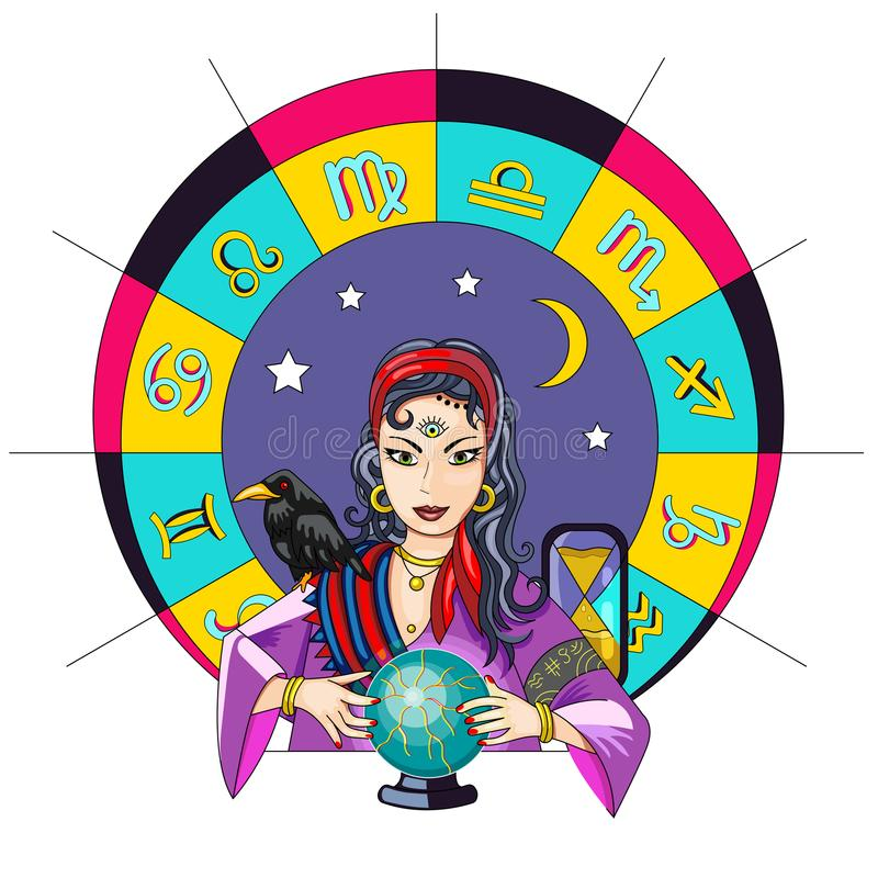 The oracle girl predicts the future on a magic ball vector illus stock photo