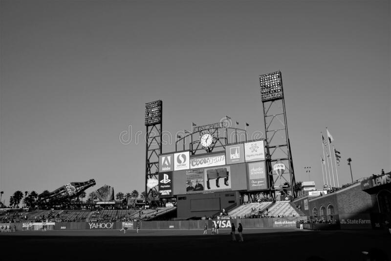 Oracle Park San Francisco durante el calentamiento foto de archivo
