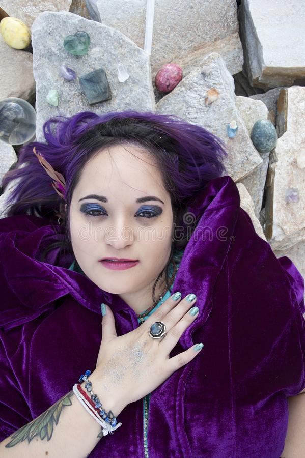 Oracle Woman In Crystal Stone Meditation royalty free stock image