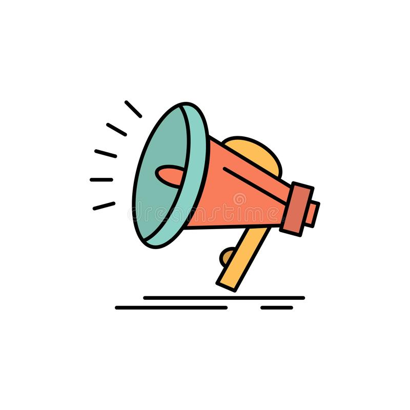 Orador, alto, audio, ícone liso da cor da voz Molde da bandeira do ícone do vetor ilustração do vetor