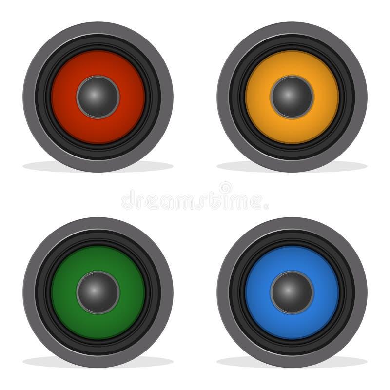 Orador alto audio com o difusor da cor isolado no branco Oradores da cor ilustração do vetor