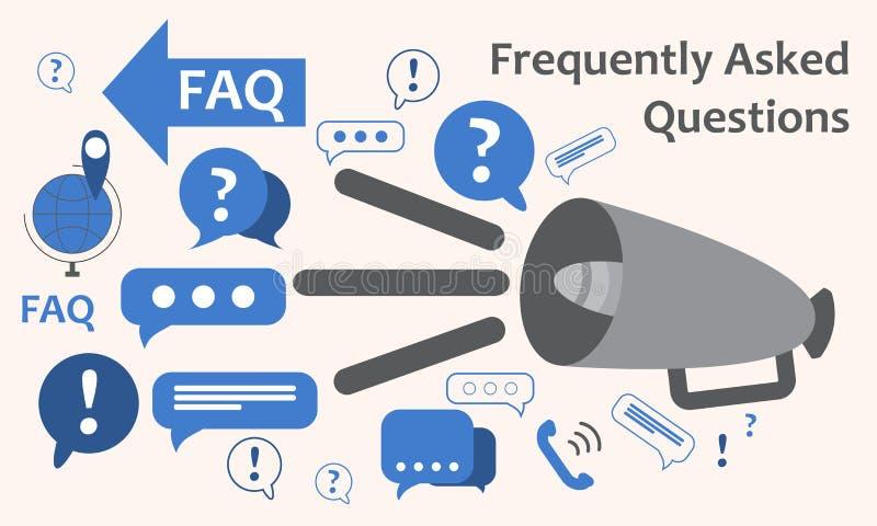 Orador com muitas marcas de exclamação das perguntas O ícone do tema da troca de informação, recolhe e analisa a informação Respo ilustração stock