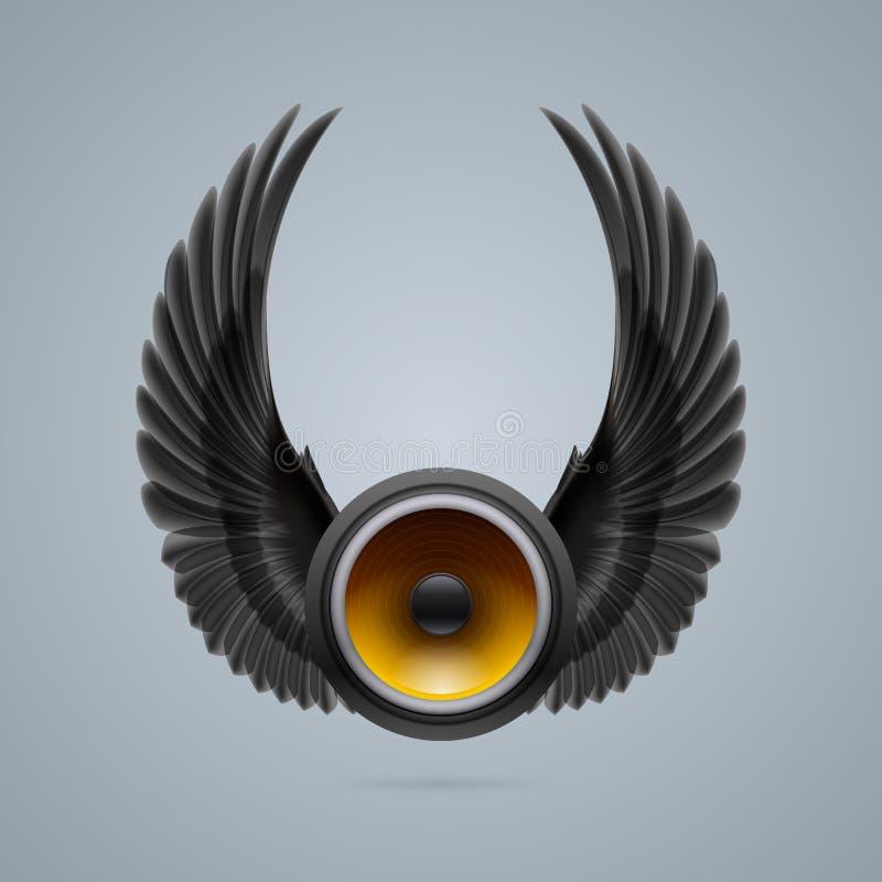 Orador da música com duas asas ilustração stock