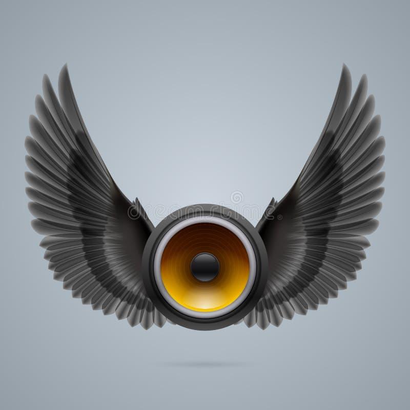 Orador da música com duas asas ilustração do vetor