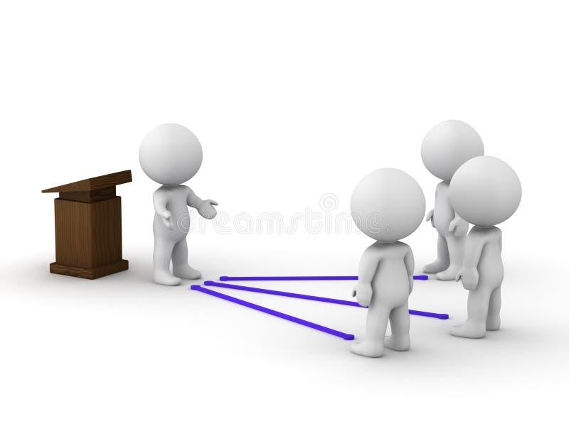 orador del hombre 3D conectado con la audiencia ilustración del vector