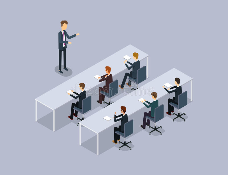 Orador do negócio no homem de negócios reunião da organização e treinamento treinamento conservado em estoque Relação pública ilustração stock