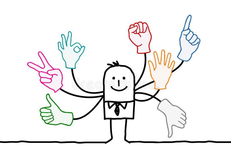 Orador dos desenhos animados com multi sinais das mãos ilustração stock