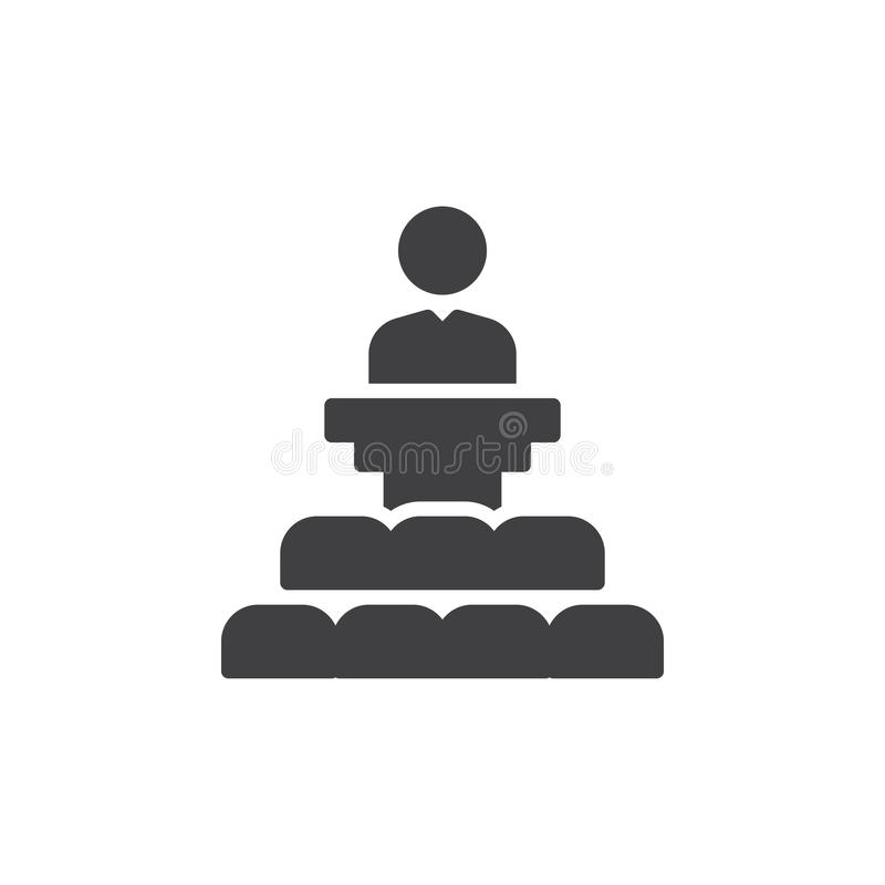 Orador em um vetor do ícone da tribuna, sinal liso enchido, pictograma contínuo isolado no branco Símbolo, ilustração do logotipo ilustração royalty free