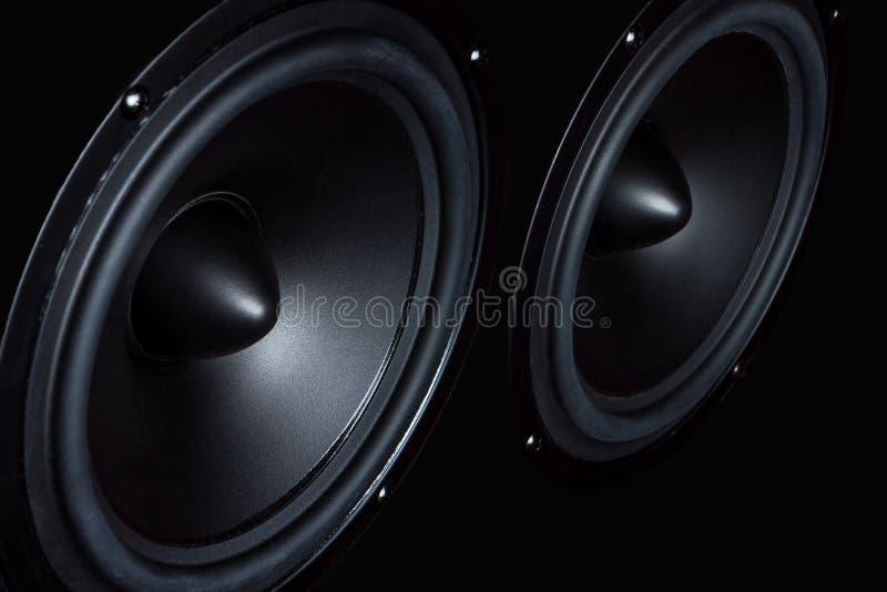 Orador escuro, altifalante, parte da coluna da música foto de stock