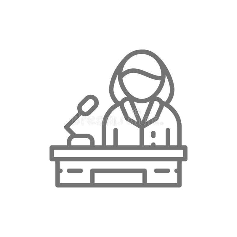 Orador, mujer detrás del podio, línea femenina icono del político stock de ilustración