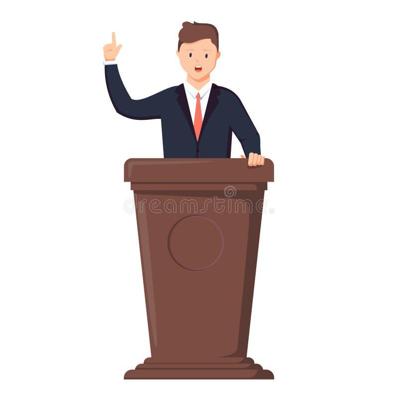 Orador na tribuna O político dá um discurso na tribuna Ilustração do vetor no estilo ilustração do vetor