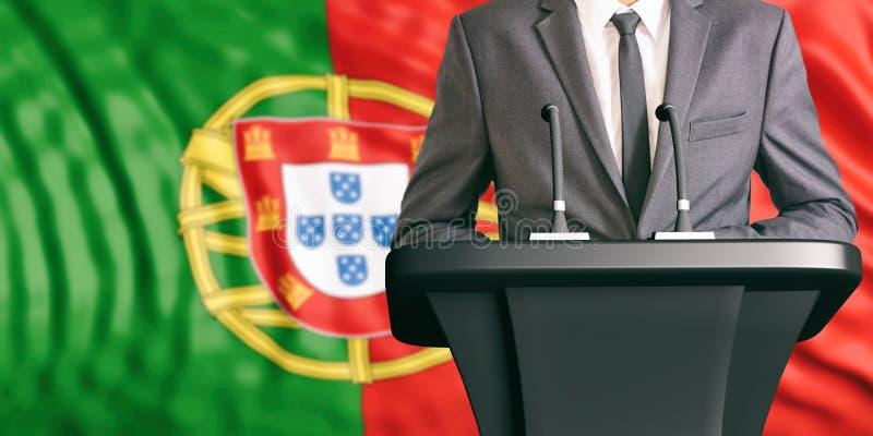 Orador no fundo da bandeira de Portugal ilustração 3D ilustração stock