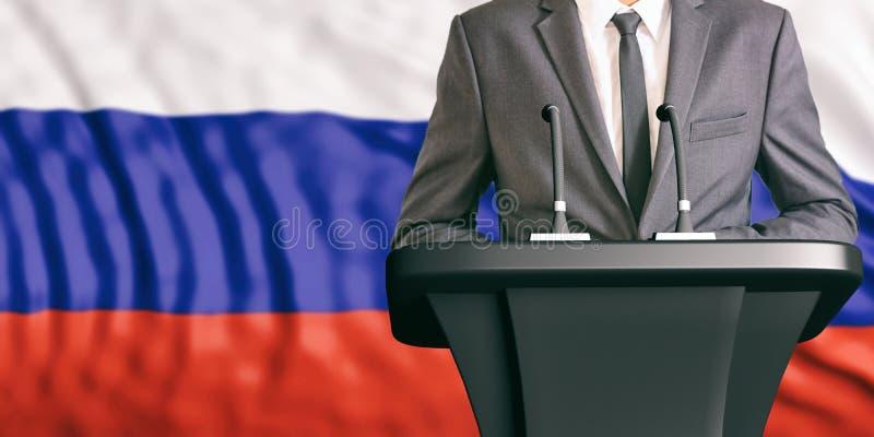 Orador no fundo da bandeira de Rússia ilustração 3D ilustração royalty free