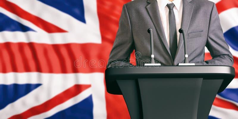 Orador no fundo da bandeira de Reino Unido ilustração 3D ilustração royalty free