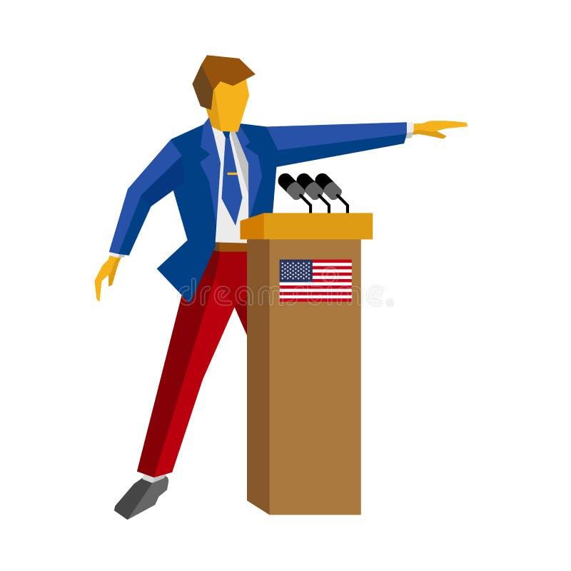 Orador no pódio Homem que está na tribuna com bandeira dos EUA ilustração royalty free