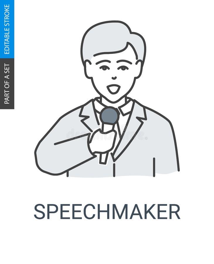 Orador no terno e com ícone do microfone ilustração royalty free