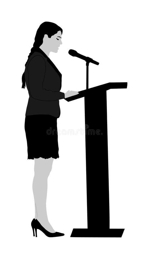 Orador público que está na ilustração do vetor do pódio isolada no branco Evento da cerimônia da reunião da abertura da mulher do ilustração stock