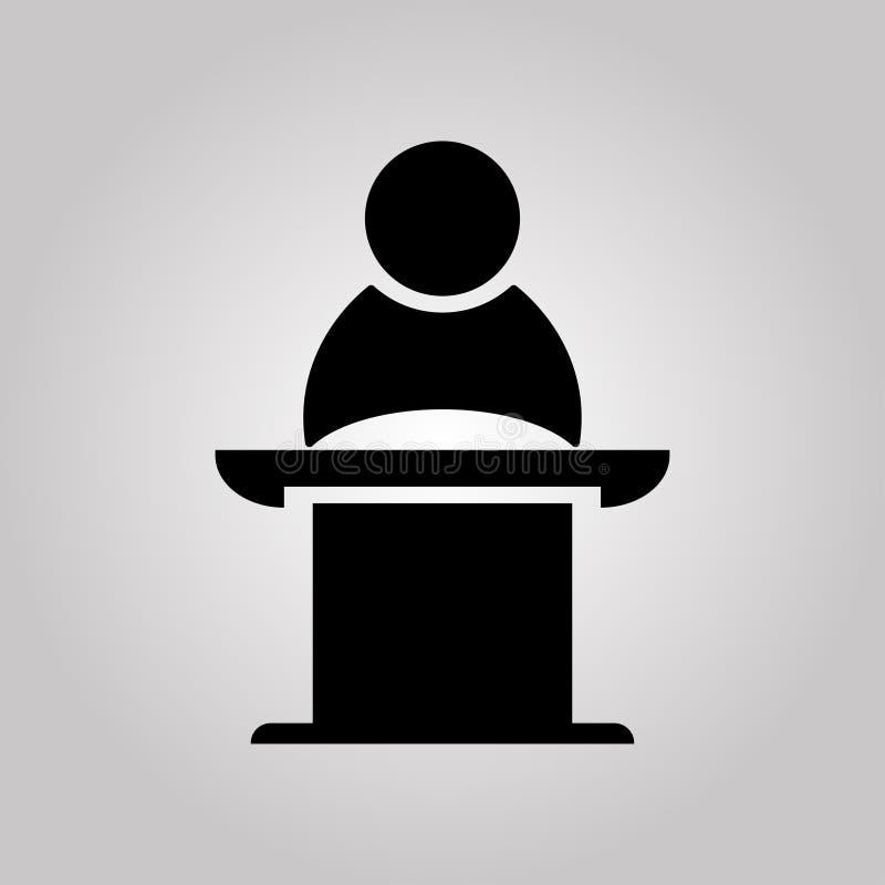 Orador p?blico no suporte Reuni?o de neg?cios, discuss?o ou debate Ilustra??o do vetor ilustração stock