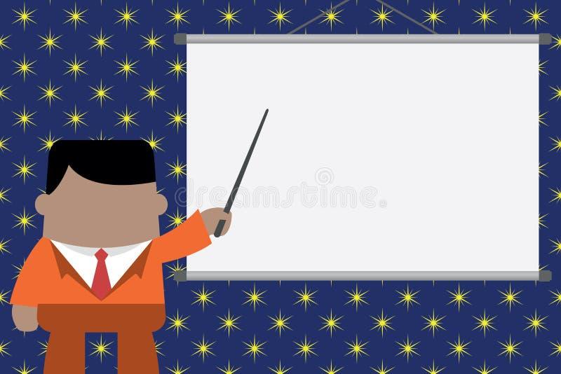 Orador que d? o treinamento profissional Posi??o executiva do homem na tela dianteira do projetor Homem de neg?cios que aponta o  ilustração do vetor